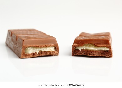 Chocolate Bar with Filling. Isolated on a white background.