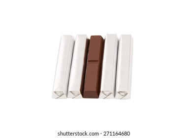 Chocolate bar in foil isolated on white