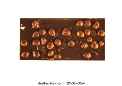chocolate bar with hazelnuts on isolated white background
