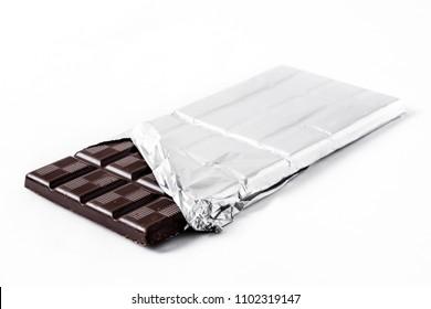 Chocolate bar isolated on white background