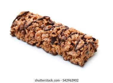 Chocolate c�ereal bar isolated on white