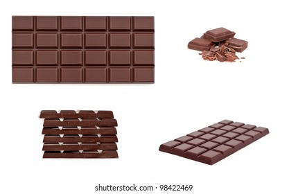 chocolate bar isolated on white, colage