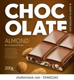 Chocolate bar on brown background.Ready for package design. Glossy. Almond taste
