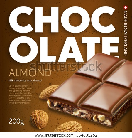 Photo De Stock De Chocolate Bar On Brown Background Ready Package