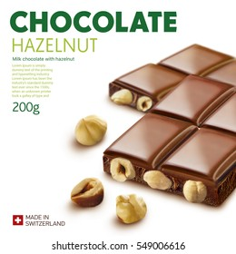 Chocolate bar on white background.Ready for package design. Glossy.Hazelnut taste