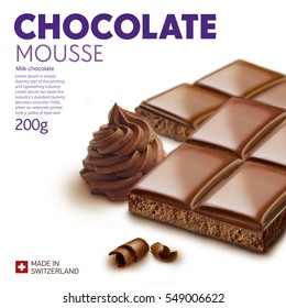 Chocolate bar on white background.Ready for package design. Glossy.Mousse taste