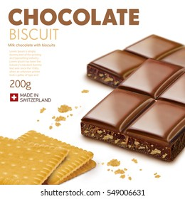Chocolate bar on white background.Ready for package design. Glossy. Biscuit taste