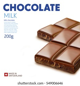 Chocolate bar on white background.Ready for package design. Glossy. Milk taste