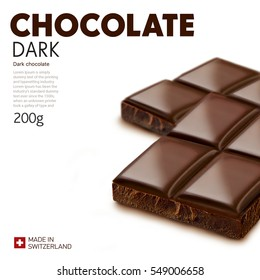 Chocolate bar on white background.Ready for package design. Glossy. Dark