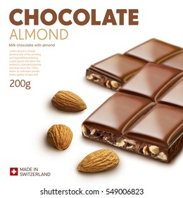Chocolate bar on white background.Ready for package design. Glossy.Almond taste