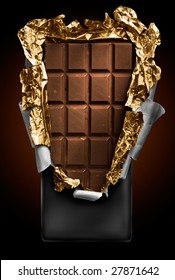 chocolate in bar with open gold cover. Look for more in MY PORTFOLIO