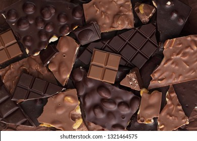 Chocolate bar pieces full frame
