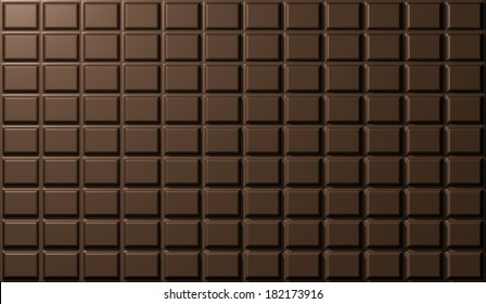 chocolate bar, rectangles, texture. rendering