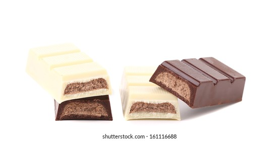 Chocolate bar with sweet creamy filling. Isolated on a white background.