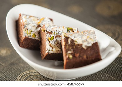 chocolate barfi in indian cafe