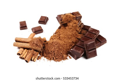chocolate bars with cinnamon sticks and pile cocoa powder isolated on white background