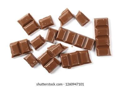 Chocolate bars isolated on white background, top view