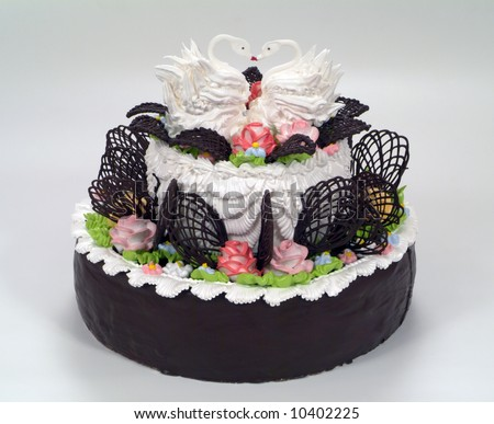 Chocolate Beautiful Multitiered Tier Wedding Cake Stock Photo Edit