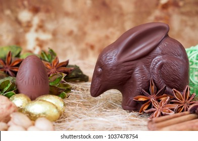Chocolate bilby against a brown background. Australian Easter concept.