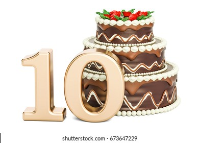 Chocolate Birthday cake with golden number 10, 3D rendering isolated on white background