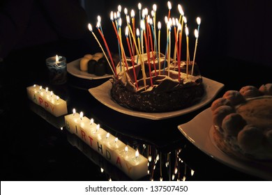 Chocolate Birthday Cake Profile On Gradient Background With Colorful Lit Candles And Happy