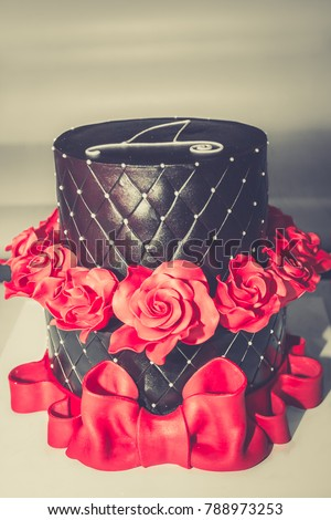 Chocolate Birthday Cake Red Roses Big Stock Photo Edit Now