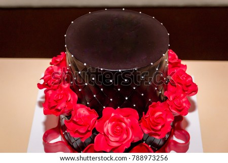 Chocolate Birthday Cake With Red Roses Copy Space On The Top Of