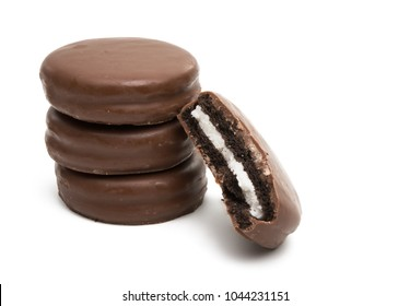 chocolate biscuit sandwich in chocolate glaze isolated on white background