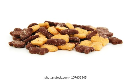 chocolate biscuits variety isolated on a white background