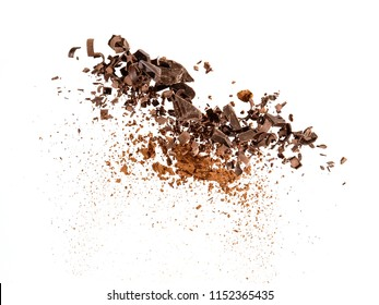 Chocolate bits and cocoa powder explosion