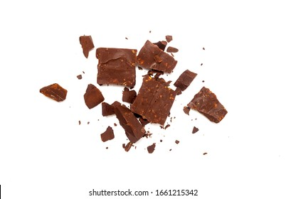 chocolate black pieces pile with almonds on white background