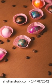 Chocolate bombons and coffee beans