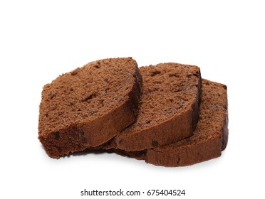 Chocolate bread, cake with flakes isolated on white background
