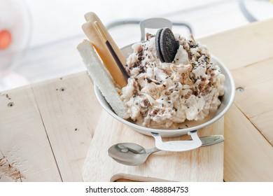 Chocolate bread cool in iron dish