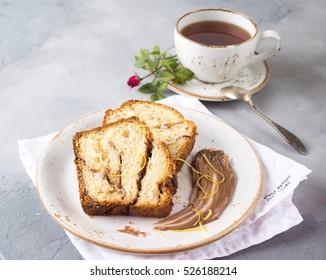 chocolate bread and tea