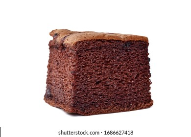Chocolate brown bread with small moist breaks on a white background