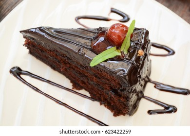 Chocolate Brownie Cake with Cherry Topping