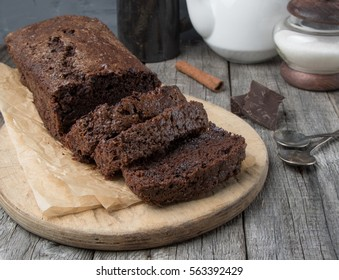 Chocolate brownie cake on cutting board