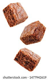 Chocolate brownie cake on a white isolated background. the toning. selective focus