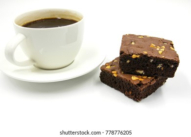 Chocolate brownie and hot black coffee isolated on white background