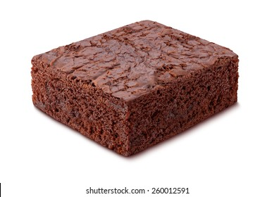 Chocolate Brownie isolated on white. The image is in full focus, front to back.