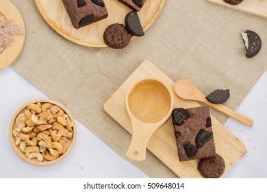 Chocolate brownie and tea.