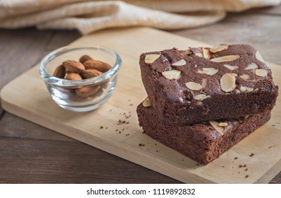 Chocolate brownie topping with almond slices