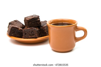 Chocolate brownies  and cup of coffee