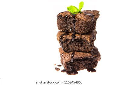 Chocolate brownies isolated on white background, homemade bakery and dessert concept