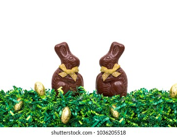 Chocolate bunnies on easter grass