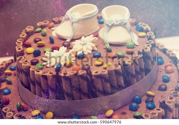 Tremendous Chocolate Cake Baby Boy Birthday Cake Stock Photo Edit Now 590647976 Funny Birthday Cards Online Alyptdamsfinfo