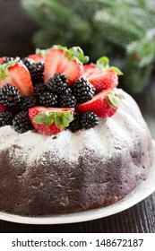 Chocolate cake with berries.