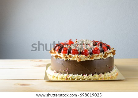 Chocolate Cake For Birthday Celebrity Decorated With Cherry Fruits Almond Nuts Butter Cream And