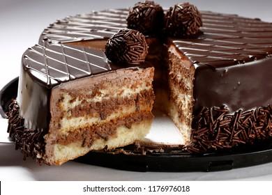 Chocolate cake with bonbon